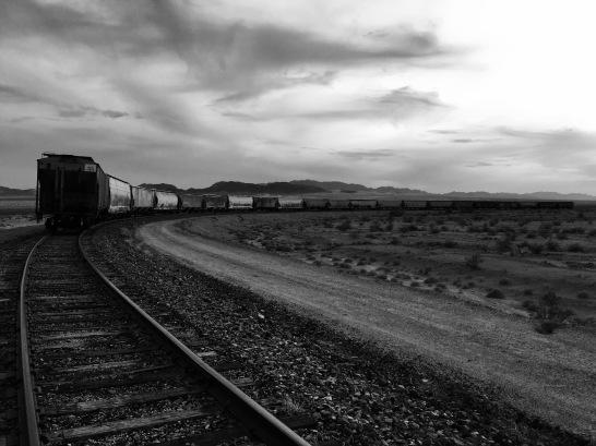CA - Border Desert with Abandon Train (Black and White)